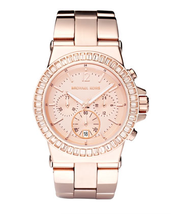 Baguette-Bezel Watch, Rose Gold