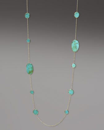 Polished Rock Candy Turquoise Necklace, 37