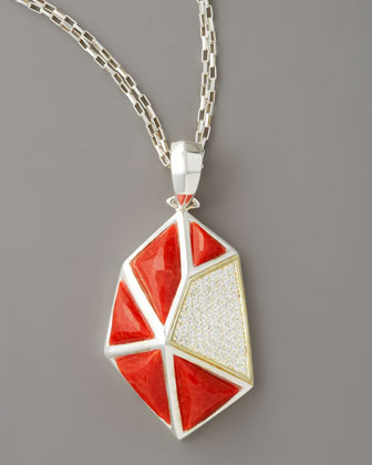 Faceted Coral Pendant Necklace, Large