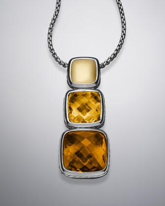 Chiclet Necklace, Citrine, 18