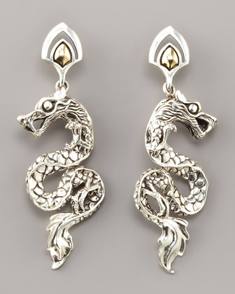 Gold/Silver Dragon Drop Earrings