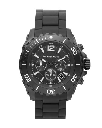 Round Chronograph Watch, Black Bracelet Strap