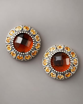 Cognac Quartz Stud Earrings