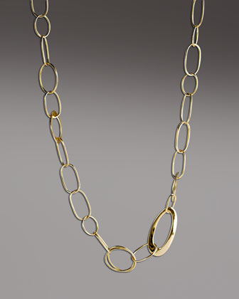 Handcrafted Gold Link Necklace, 18