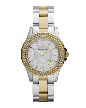 Mini-Size Madison Three-Hand Glitz Watch, Golden/Silver-Color