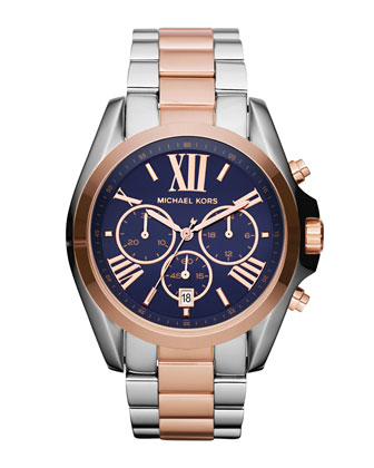 Mid-Size Bradshaw Chronograph Watch, Silver-Color/Rose Golden