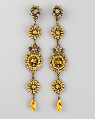 Crystal Drop Earrings, Yellow