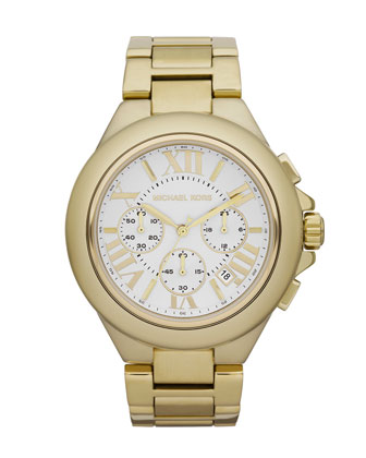 Mid-Size Golden Stainless Steel Camille Chronograph Watch