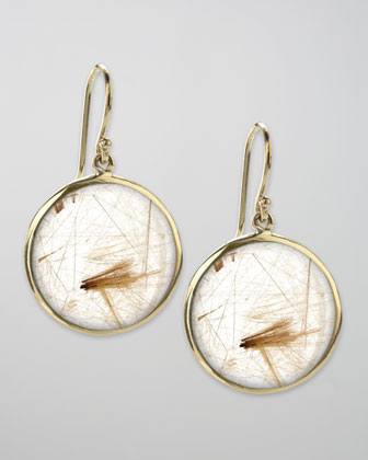 Drop Earrings, Rutilated Quartz