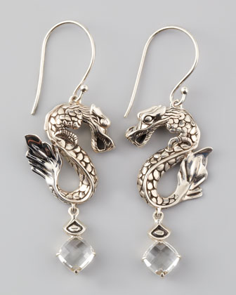Naga Batu Drop Earrings, White Topaz