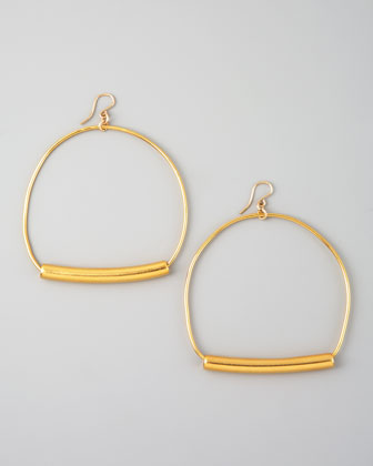 Gold Stirrup Hoop Earrings