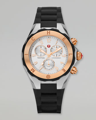 Tahitian Large Jelly Bean Two-Tone Chronograph, Rose Golden/Black