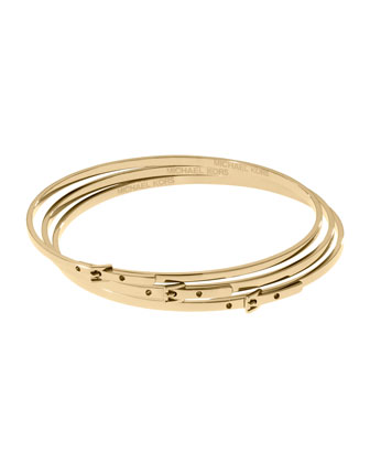 Skinny Buckle Bangles, Golden