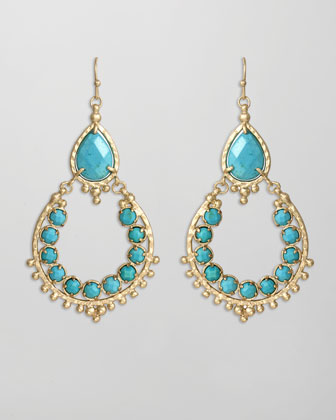 Multi Stone Drop-Hoop Earrings