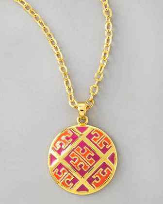 Enamel T-Pattern Pendant Necklace, Orange/Pink