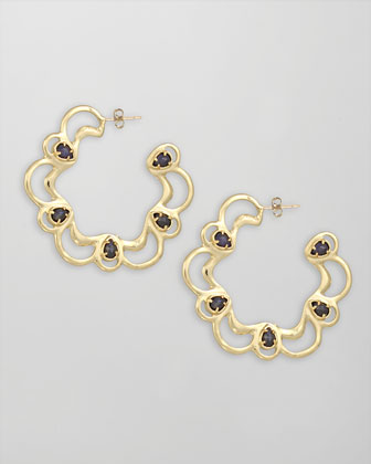Scalloped Scroll Hoop Earrings