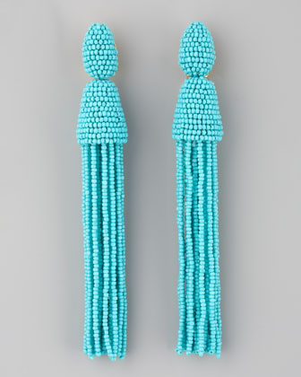 Long Beaded Tassel Earrings, Turquoise
