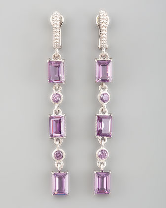 Triple Baguette Drop Earrings, Purple