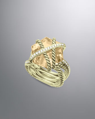 Cable Wrap Ring, Champagne Citrine, 16mm