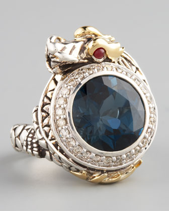 London Blue Topaz Dragon Ring, Small