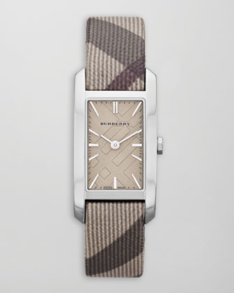 Smoked Check-Strap Rectangular Watch