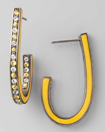 Mixed Pave Sapphire J Hoop Earrings, Yellow