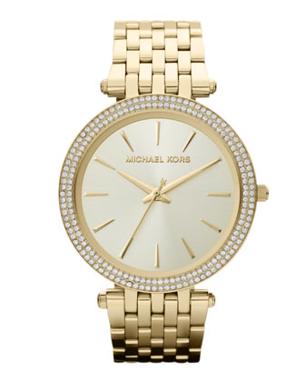 Mid-Size Golden Stainless Steel Darci Three-Hand Glitz Watch