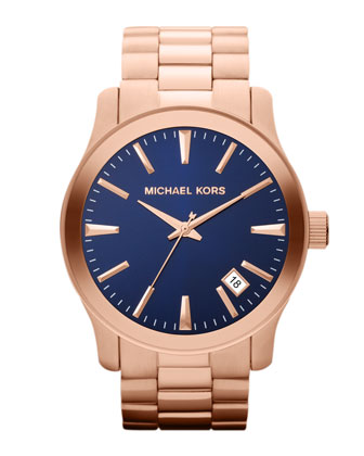 Oversize Rose Golden Stainless Steel Runway Three-Hand Watch