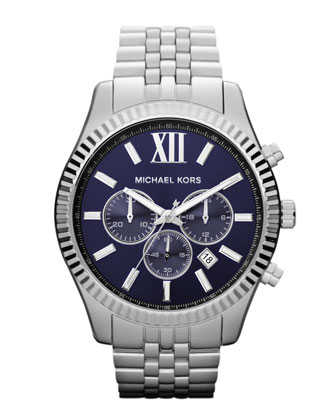 Oversize Silver Color Stainless Steel Lexington Chronograph Watch