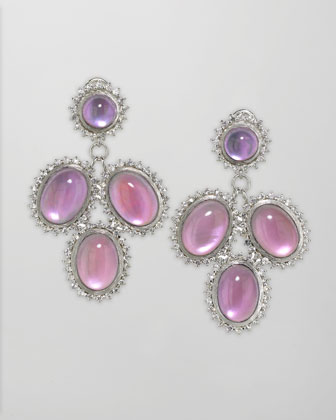 Pink Cabochon Cascade Earrings