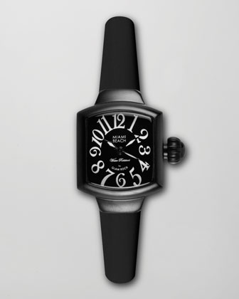 Small Square Silicone Watch, Black