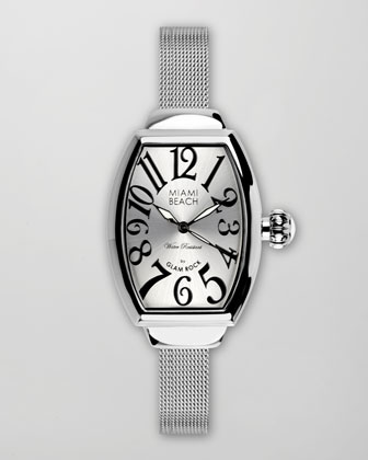 Large Mesh-Strap Curved Watch