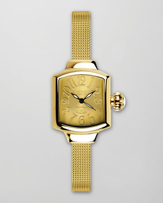 Small Mesh-Strap Square Watch, Gold