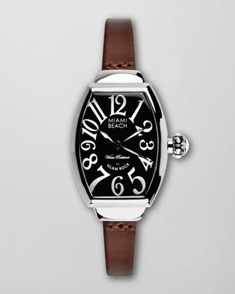 Large Leather-Strap Curved Watch, Brown