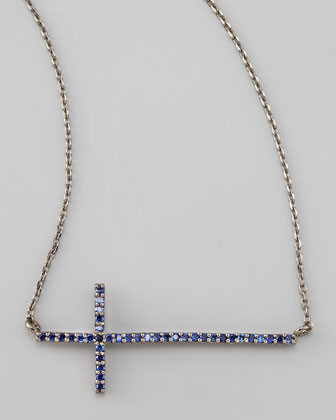 Gunmetal Pave Cross Necklace, Blue