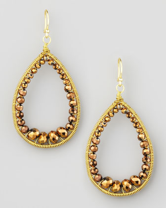 Beaded Teardrop Earrings, Bronze