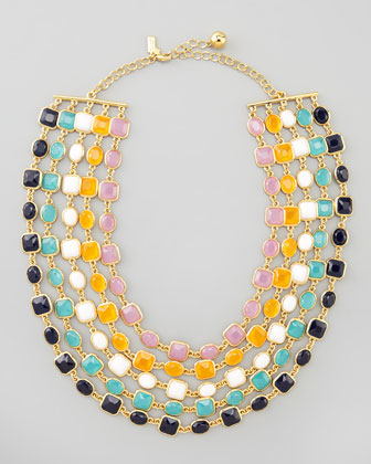 multi-strand bib necklace, multicolor