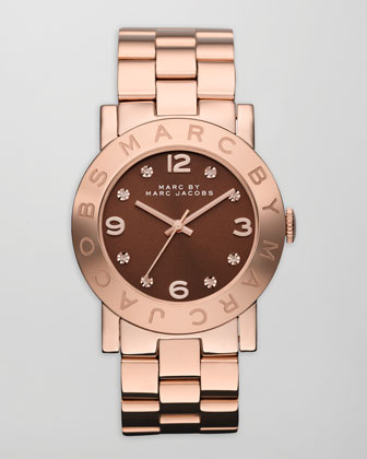 Amy Floral Watch, Rose Golden/Brown