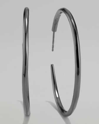 Black Silver Squiggle Hoop Earrings