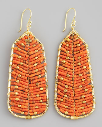Beaded Tribal Earrings, Orange