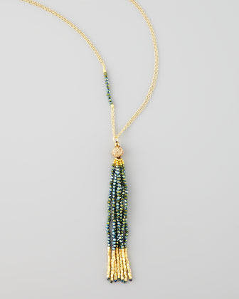 Yellow Golden Tassel Pendant Necklace, Green