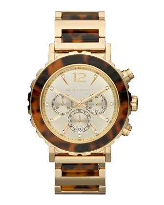Oversize Tortoise/Golden Stainless Steel Lillie Chronograph Watch