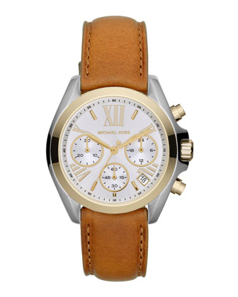 Mid-Size Leather Bradshaw Chronograph Watch