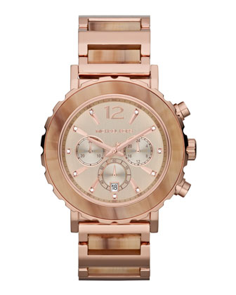 Oversize Rose Golden Stainless Steel Lillie Chronograph Glitz Watch