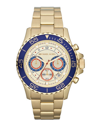 Mid-Size Golden Stainless Steel Chronograph Watch