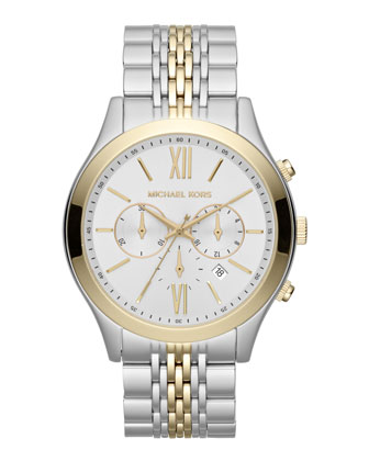 Oversize Silver Color/Golden Two-Tone Stainless Steel Brookton Watch
