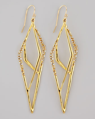 Gold-Plated Pave Kite Earrings