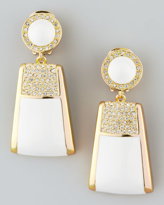 Pave Crystal Drop Clip Earrings, White