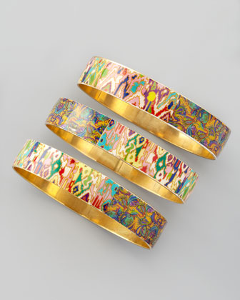 Set of 3 Tie-Dye Print Bangles, Multicolor