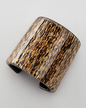 Patterned Resin Cuff, Brown/Multicolor